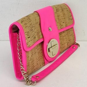 Neon Pink and Cork Kate Spade Ava clutch w. chain